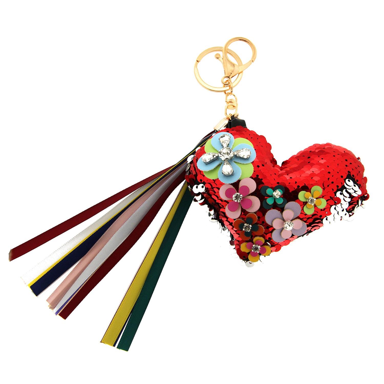 Schlüsselanhänger Flowerheart, rot mix 0