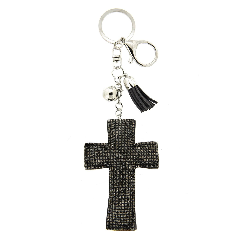 Schlüsselanhänger Kreuz, silber hermatite 0
