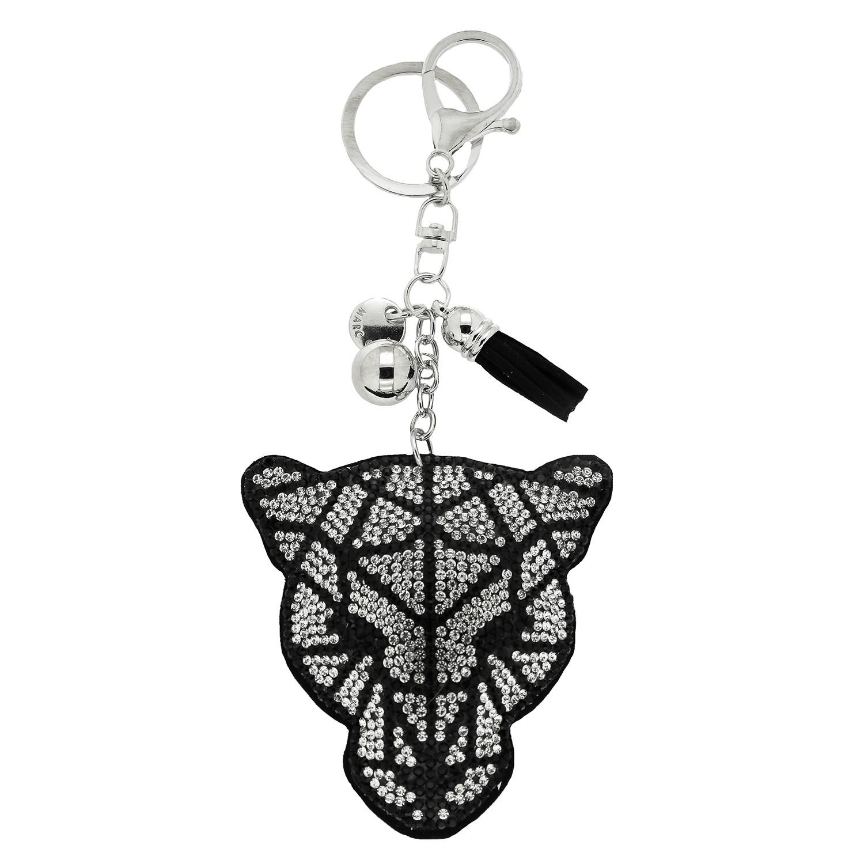 Schlüsselanhänger Leo Head, schwarz crystal 0