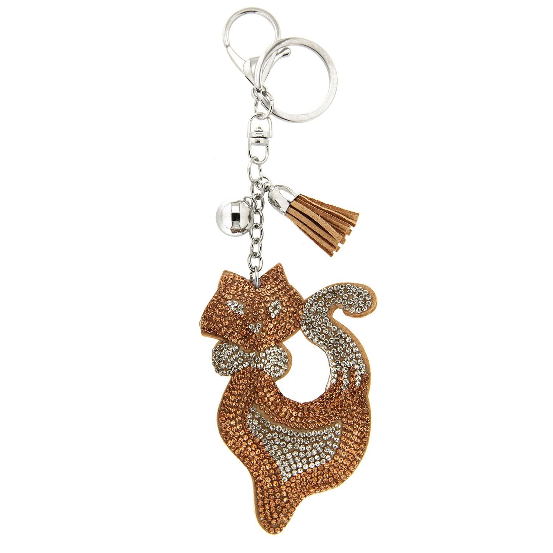 Schlüsselanhänger Meow, silber peach crystal 0