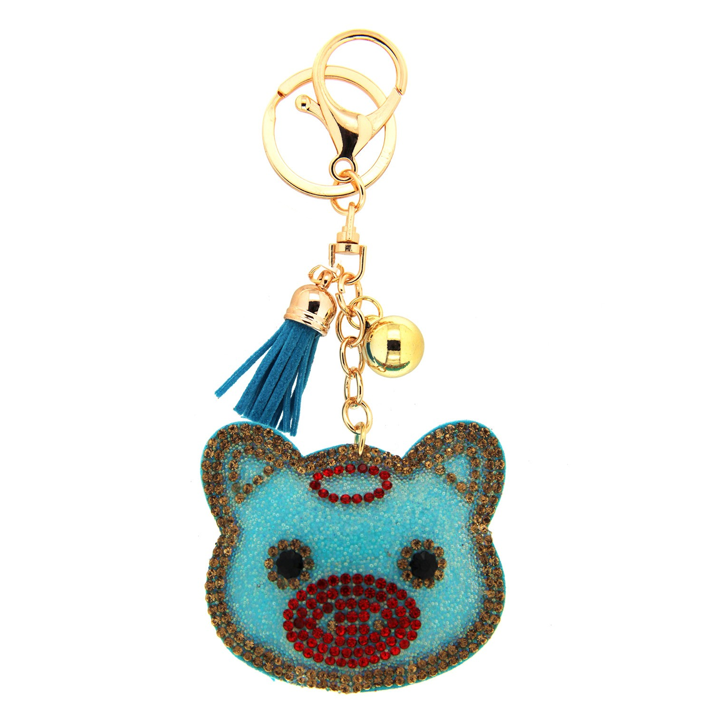 Schlüsselanhänger Pig, gold blau rot 0