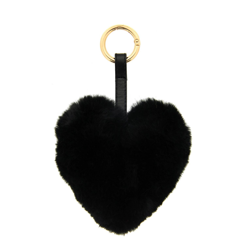 Schlüsselanhänger Plüschherz, gold schwarz 0
