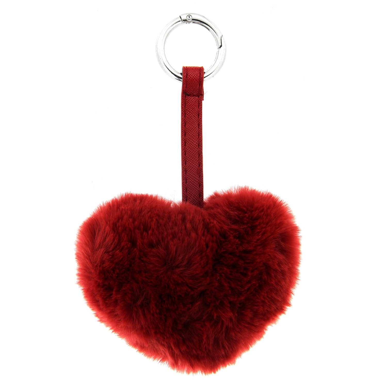 Schlüsselanhänger Plüschherz, silber/rot