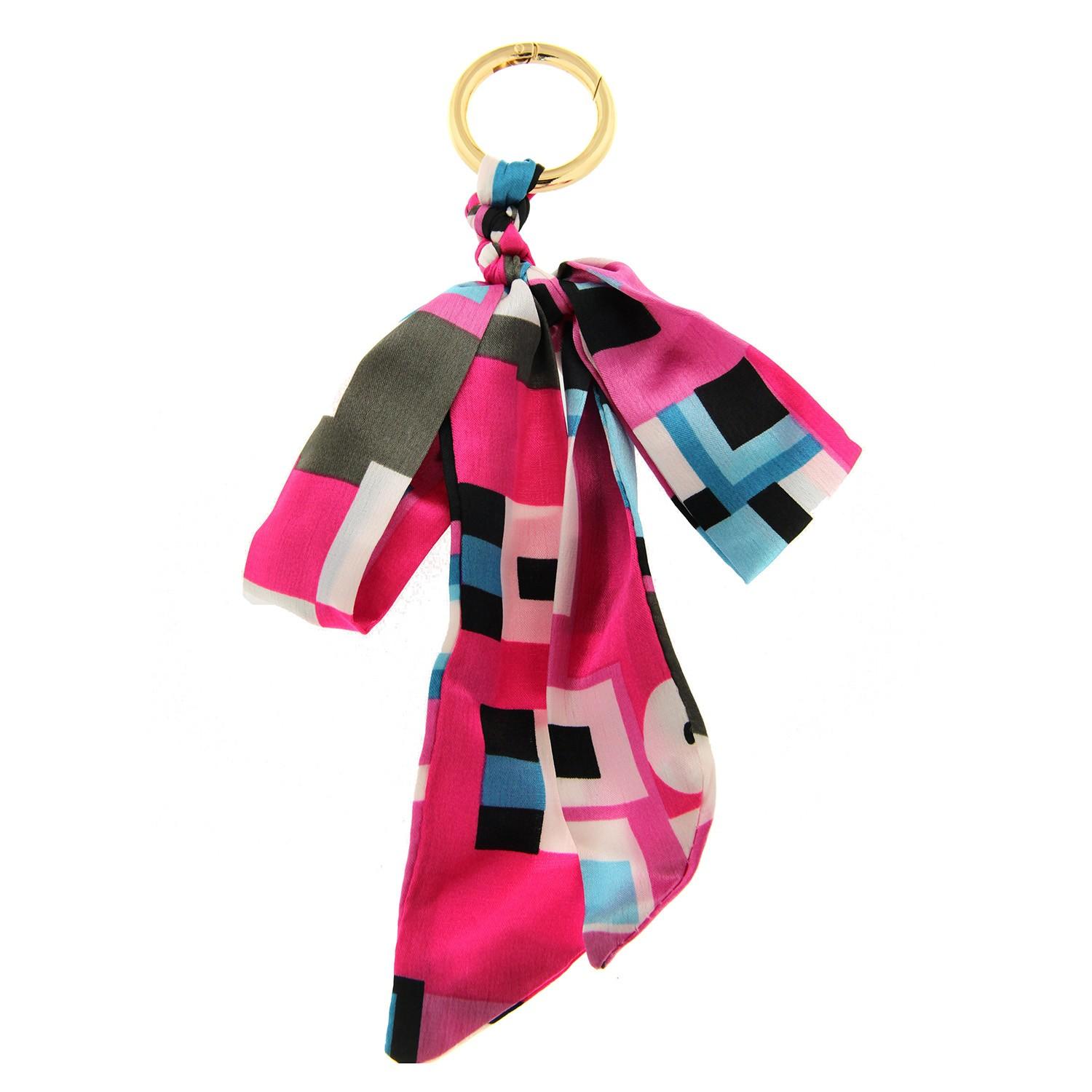 Schlüsselanhänger Schleife, pink square 0