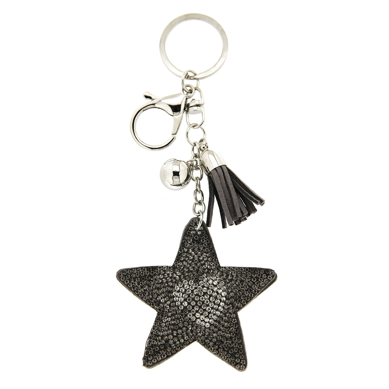 Schlüsselanhänger Stern+Herz, bl.diam silber grau 0