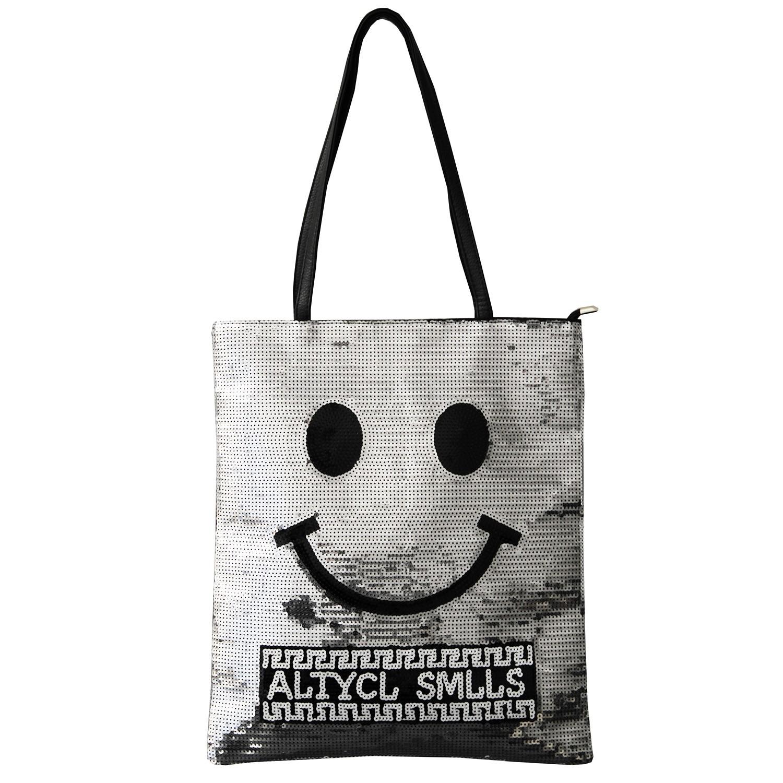 Shopper-Tasche Smile, silber schwarz 0