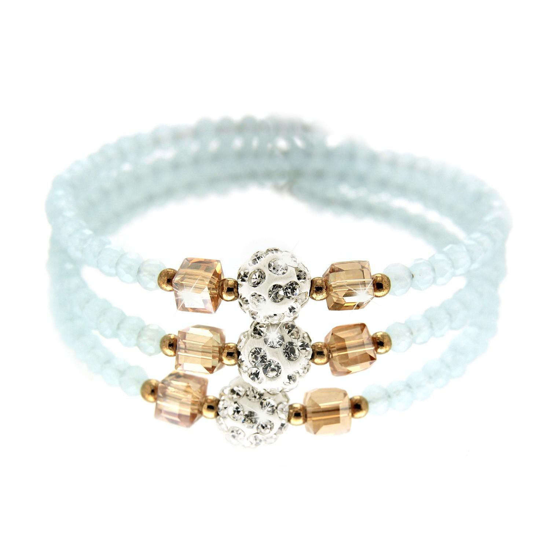 Spiralarmband Poldi, topaz crystal hellblau 0