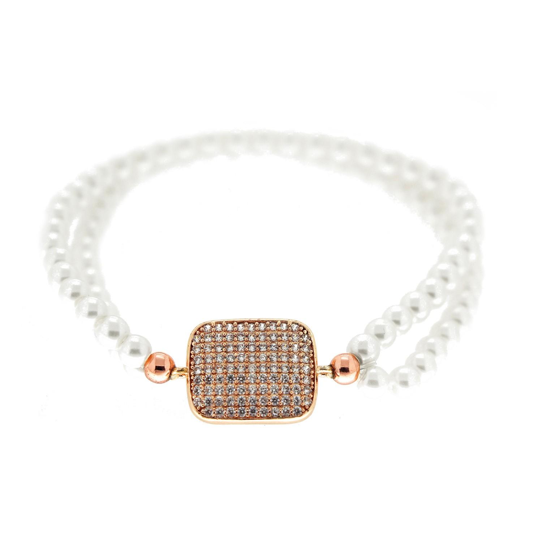 Stretcharmband Almaz, Perle rosegold crystal 0