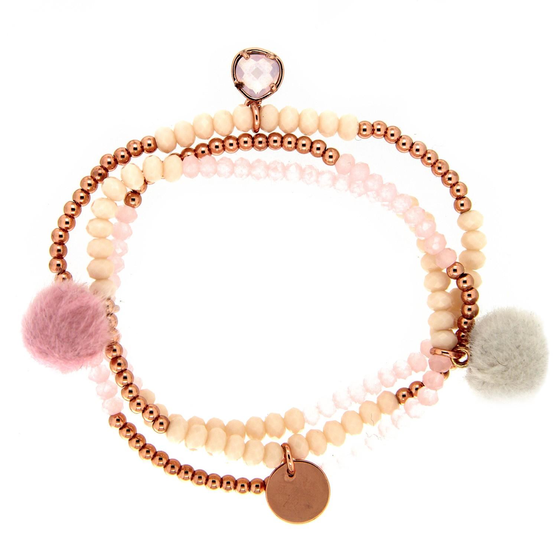 Stretcharmband Beads and Charms, rose, vergoldet 0