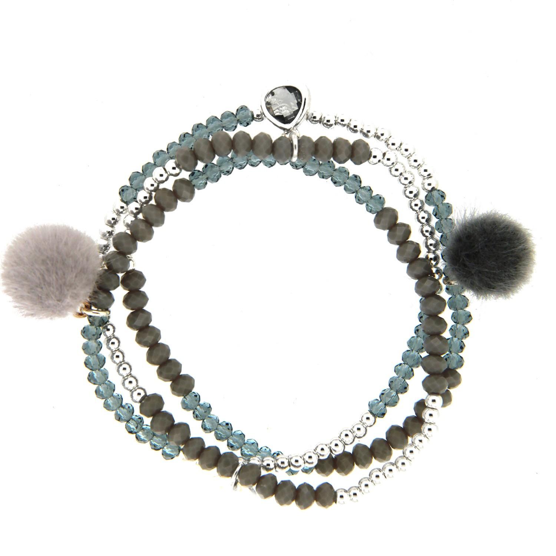 Stretcharmband Beads and Charms, versilbert grau 0