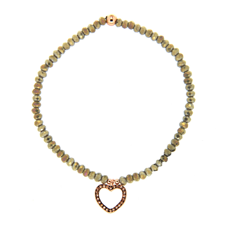 Stretcharmband Herz, grauopal rosegold crystal 0