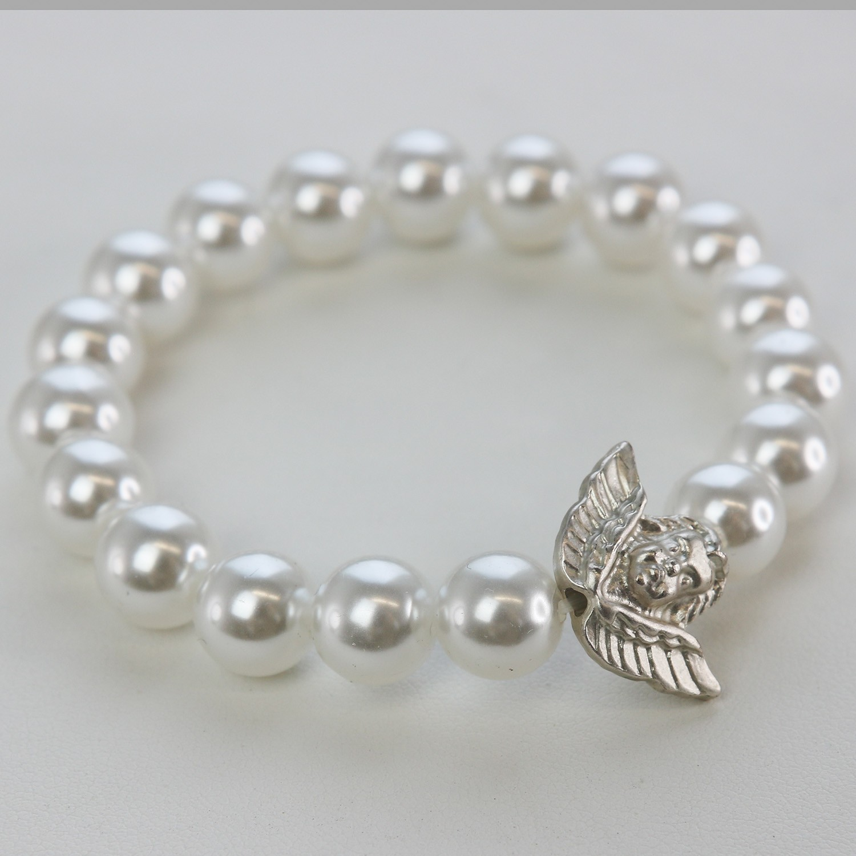 Stretcharmband Perlen, weiß mit Engel 0