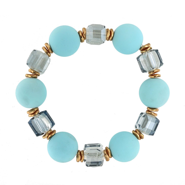 Stretcharmband Tristana,hellblau gold blau crystal 0