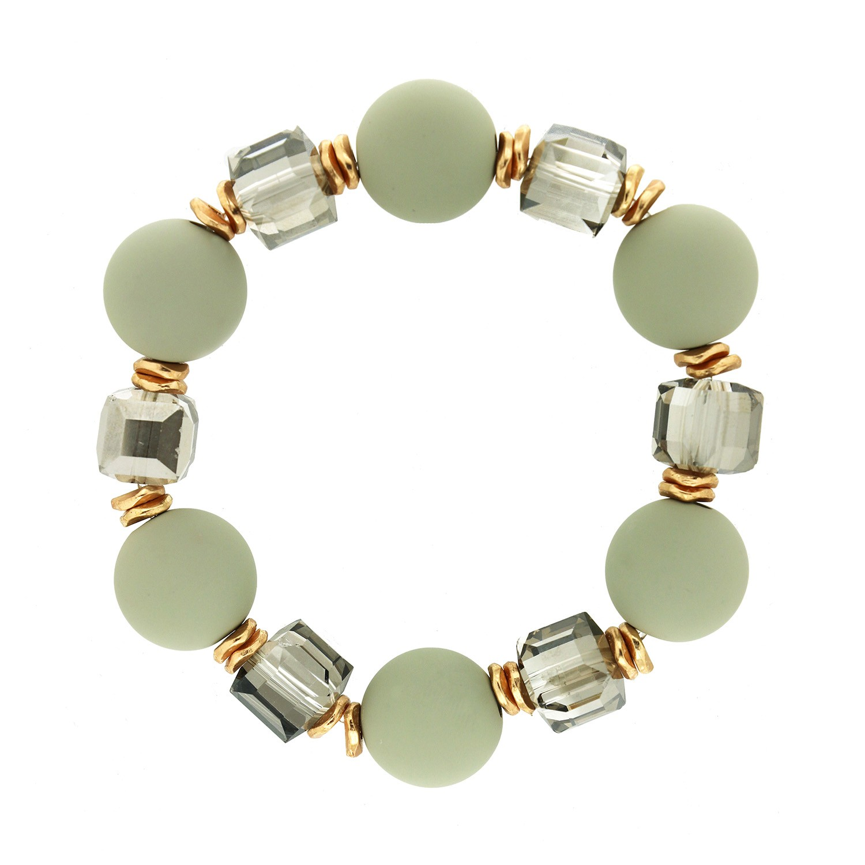 Stretcharmband Tristana,hellgrau gold grau crystal 0