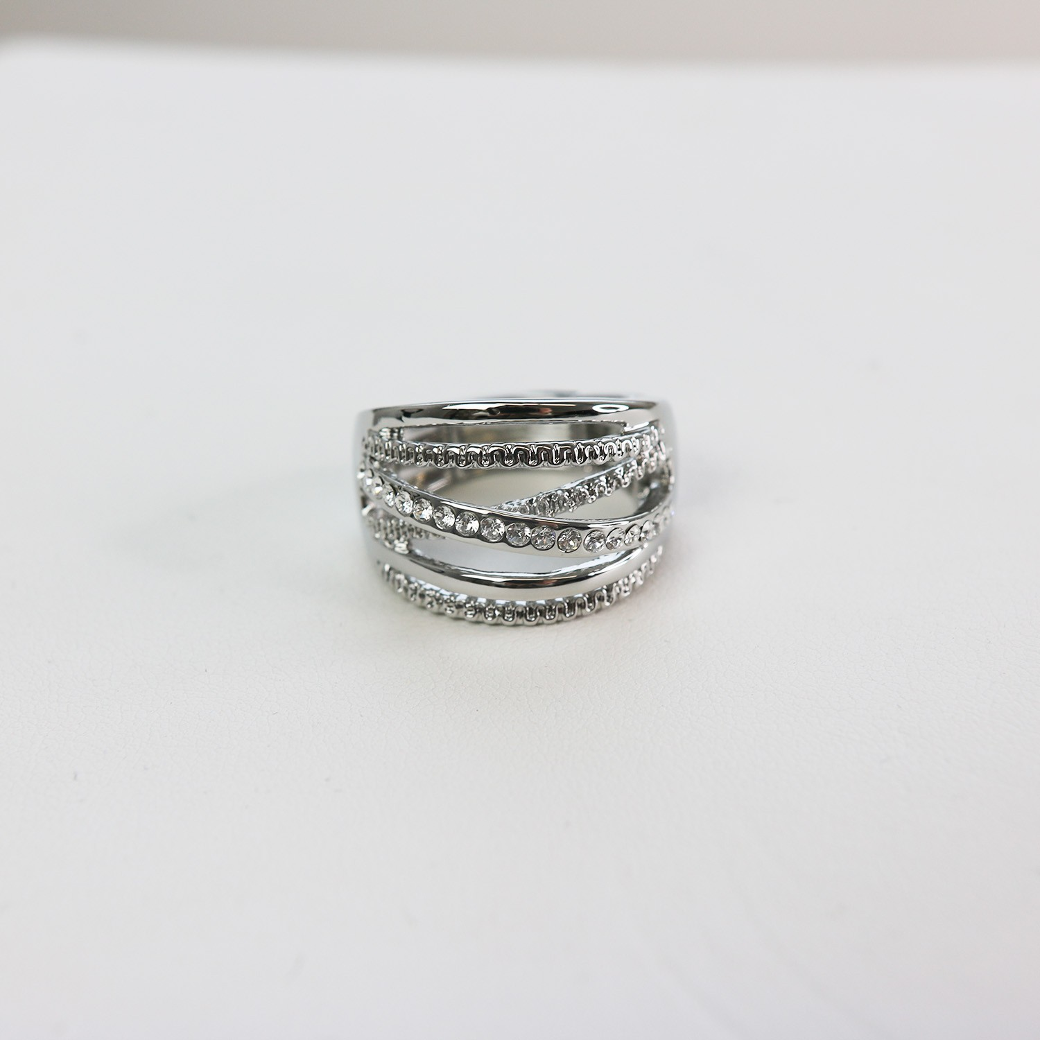 Stretchring, silber crystal 0