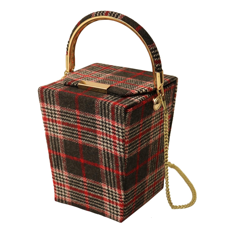Tasche Box, rot kariert gold 0