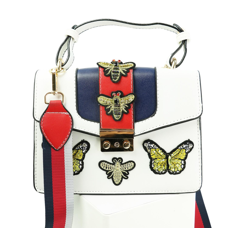 Tasche Butterfly & Bee, rot weiß gold 0