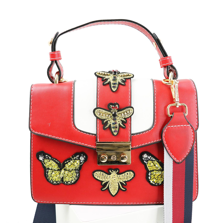 Tasche Butterfly & Bee, weiß blau gold 0