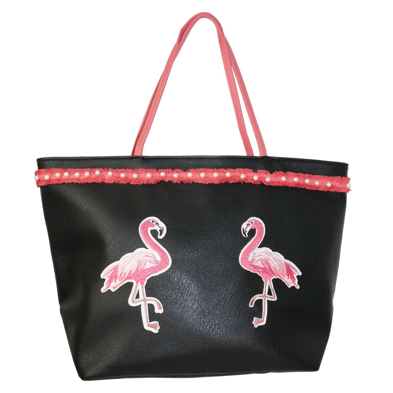 Tasche Flamingo Twins, schwarz pink 0