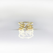 Ring Moon and Star, gold/crystal