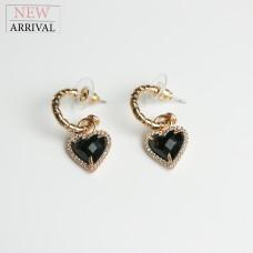 Ohrschmuck black Heart, gold/schwarz