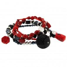 Armband Buddha Riva schwarz   rot 0