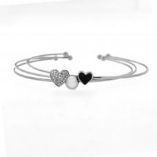 Armreif Hearts, silber crystal schwarz 0