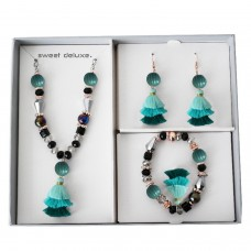 Box Earring Blet Necklace Summer teal 0