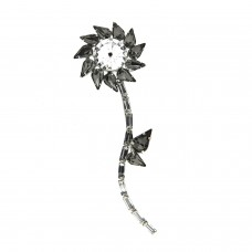 Brosche Klammer Flower, silber black diamond 0
