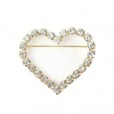 Brosche Herz, crystal gold 0
