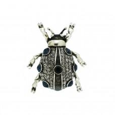 Brosche Käfer, antiksilber crystal blau 0