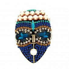 Brosche Mask I, weiß blau mix 0