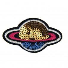 Brosche Satelite, schwarz pink gold blau 0