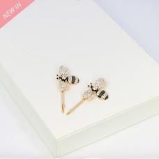 Haarklammer  Biene 2tlg, gold crystal schwarz 0