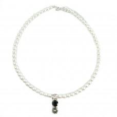 Kette Perlen, weiß crystal schwarz bl.diamond 0