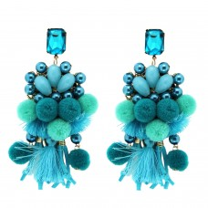 Ohrring Hippie, blau türkis 0