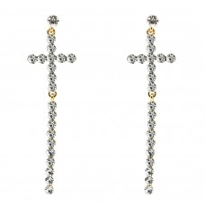 Ohrschmuck Cross long, gold crystal 0
