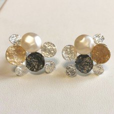 Ohrschmuck silber tri color Perle 0