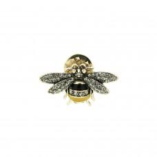 Pin Little Bee, antiksilber crystal gelb schwarz 0