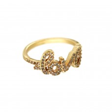 Ring love, gold crystal 0
