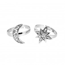 Ring Set Mond + Stern, silber crystal 0
