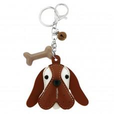 Schlüsselanhänger Dog Head, silber/braun/weiß