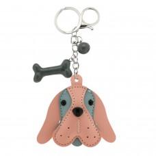 Schlüsselanhänger Dog Head, silber/rose/grau
