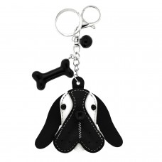 Schlüsselanhänger Dog Head, silber/schwarz/weiß
