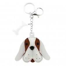 Schlüsselanhänger Dog Head, silber/weiß/braun
