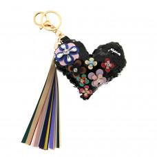 Schlüsselanhänger Flowerheart, schwarz/mix