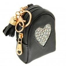 Schlüsselanhänger Heart on Bag,dkl.grau crystal AB 0
