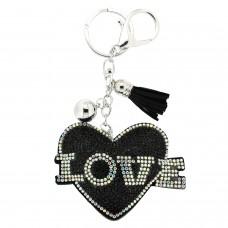 Schlüsselanhänger Heart with Love, schwarz crystal 0