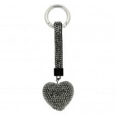 Schlüsselanhänger Herz, gunmetal hematite 0