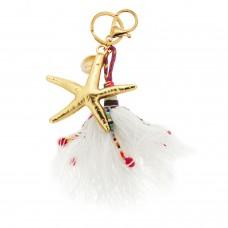 Schlüsselanhänger Seestar, mattgold weiß multi 0